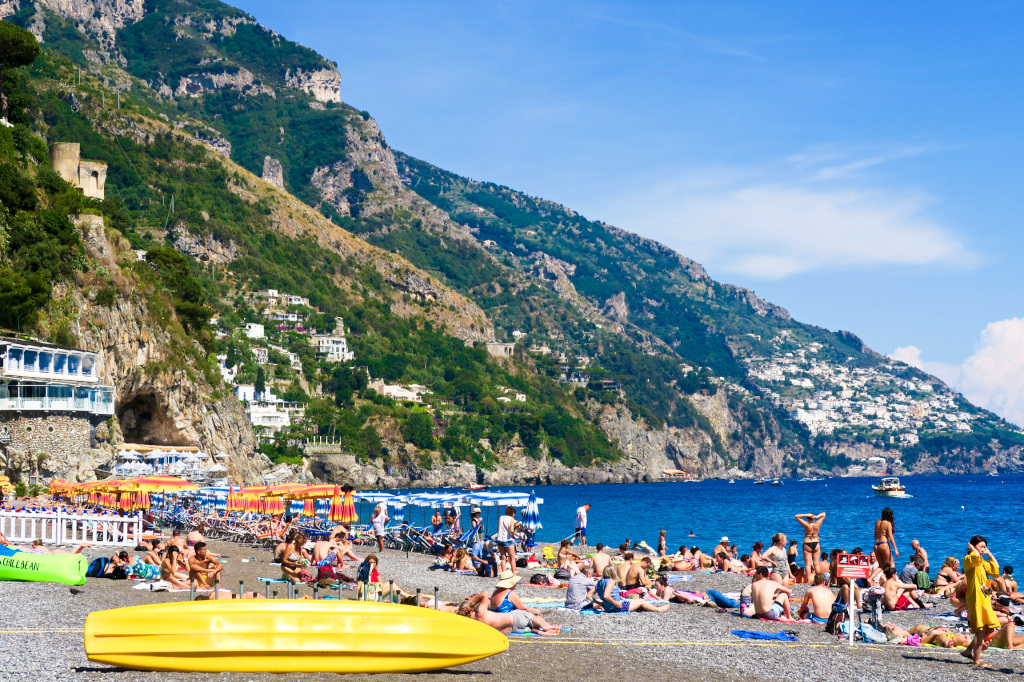At the beach in Positano, Italy