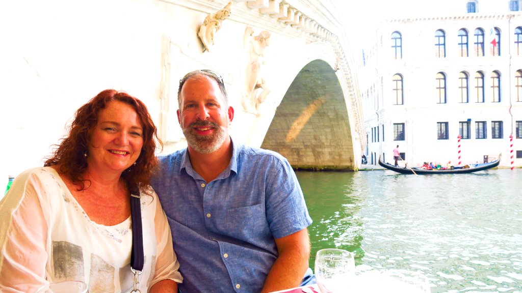 Dinner under the Rialto Bridge with the kids