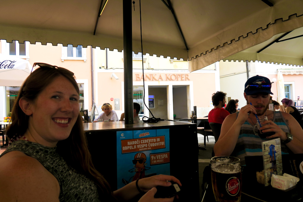 Having a pivo (beer) in Piran