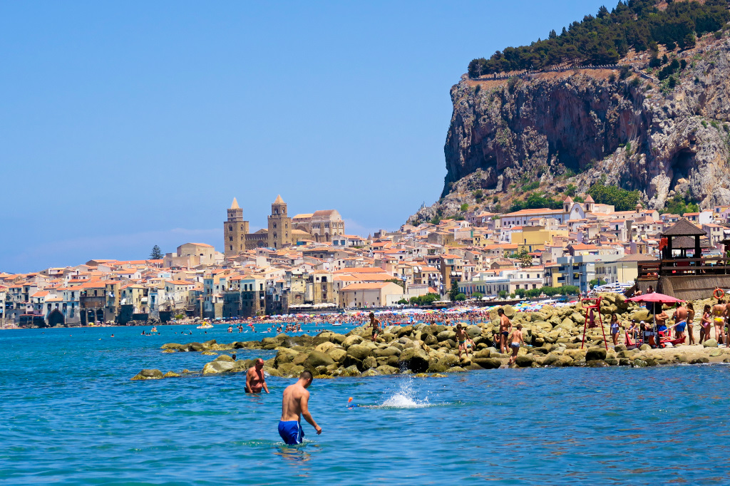 The beach old town in Cefalu, Sicily