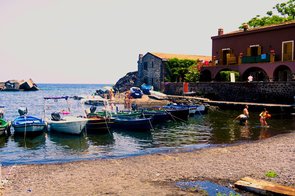 The beachside harbor in Pozzillo