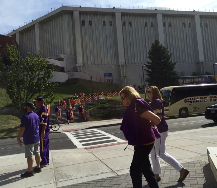 Tigers fans outside the Carrier Dome.