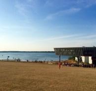 Onondaga Lake behind it.
