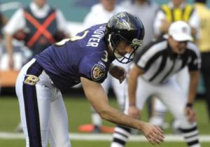 MIAMI, FL - JANUARY 4:  Kicker Matt Stover #3 of the Baltimore Ravens sets for a field goal attempt against the Miami Dolphins in an NFL Wildcard Playoff Game at Dolphins Stadium on January 4, 2009 in Miami, Florida.  (Photo by Al Messerschmidt/Getty Images)