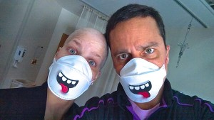 jen and nestor with masks