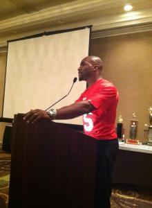 tj at podium