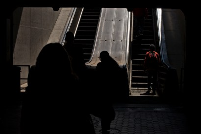 Here is an interesting shot coming out of the depths of the metro into the welcoming sunlight.