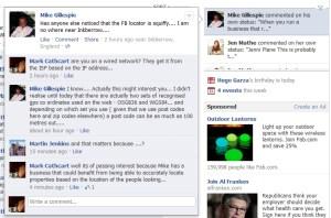 Sample Facebook update illustrating the problem
