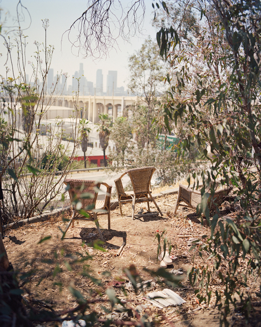 Fig. 1: Gregory Halpern 2016. Wicker chairs overlooking downtown LA. From ZZYZX.
