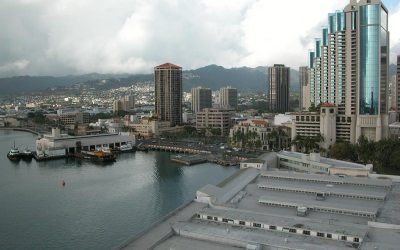 Honolulu waterfront from Aloha Tower observation deck