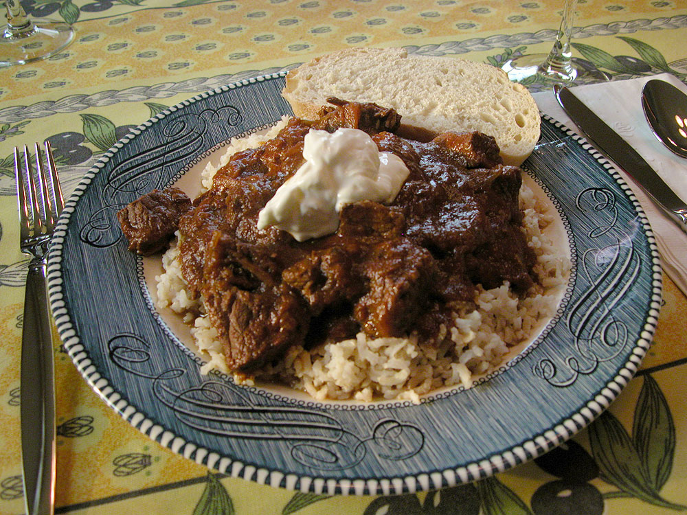 Hungarian Goulash with rice