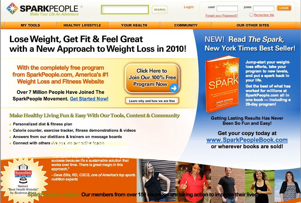 Weight loss website: SparkPeople.com