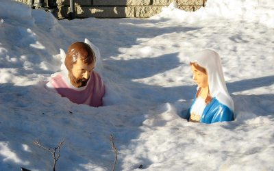 Joseph and Mary in melting snow, Racine, Wisconsin