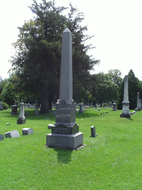 Joshua Pierce family graves at Mound Cemetery in Racine, Wisconsin.