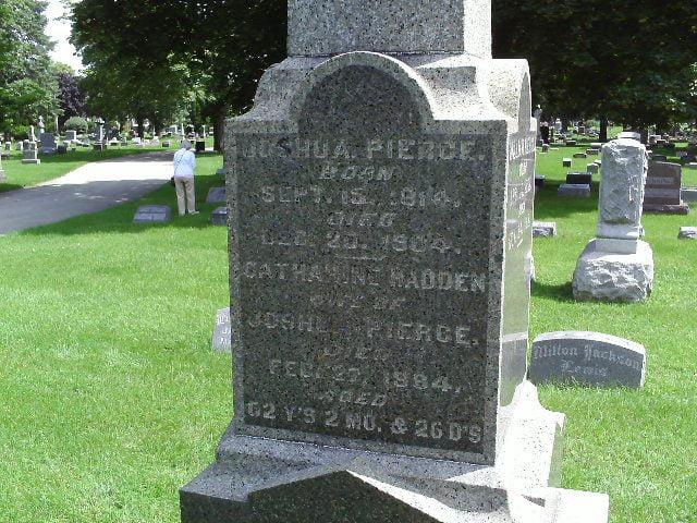 West face of Joshua Pierce family gravestone at Mound Cemetery, Racine, Wisconsin.