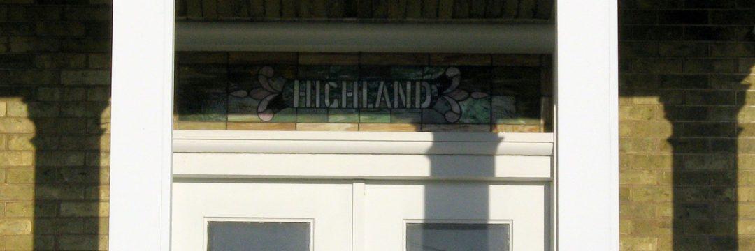 Highland in leaded glass, Joshua Pierce home, Racine WI