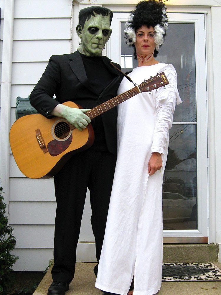 Halloween costumes: Frankenstein mask, Bride of Frankenstein wig