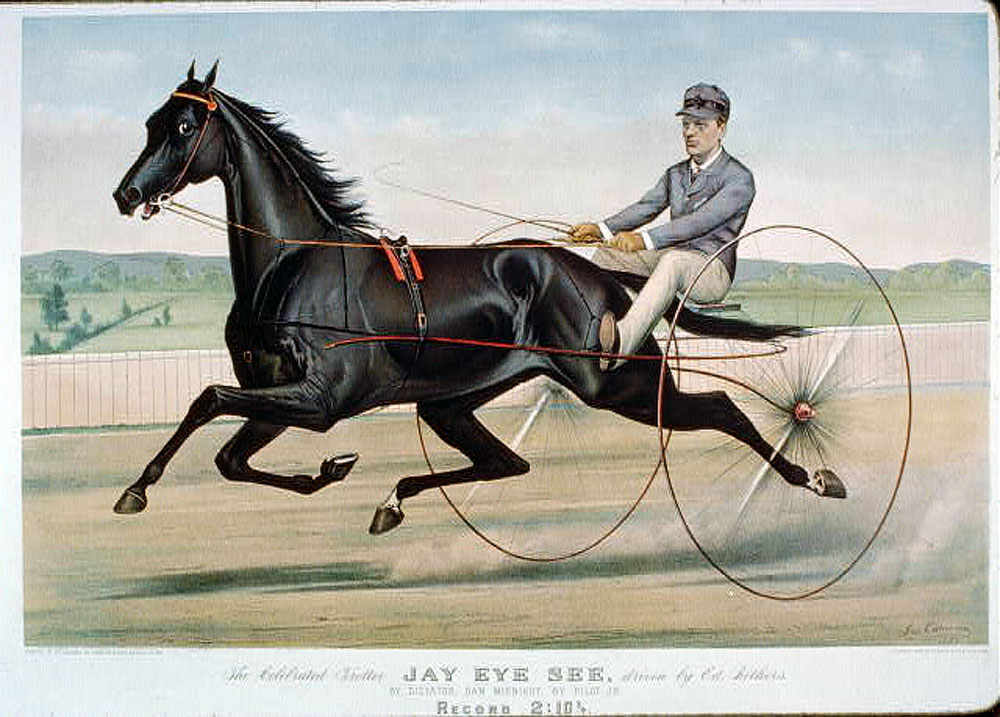 Racehorse Jay-Eye-See sets trotting record in 1884 (illustration by Currier and Ives)