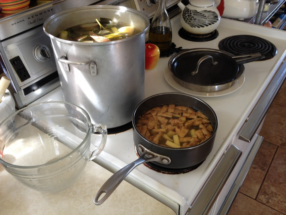 stock pot of mineral broth, ginger syrup