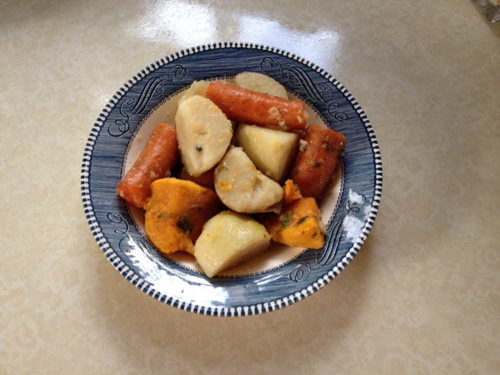bowl of boiled root vegetables