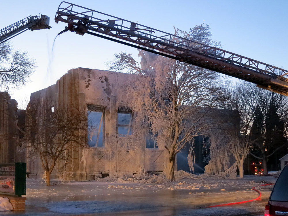 Fire damage at Mitchell School in Racine, Wisconsin on February 27. 2014 at 6:06 a.m.