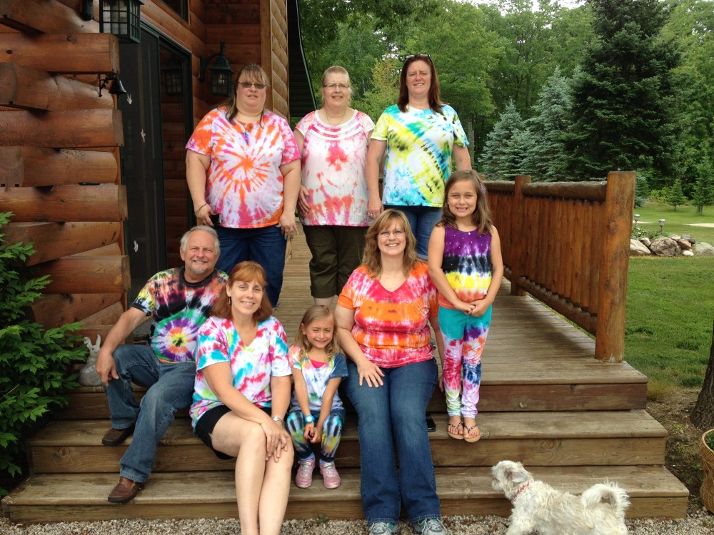 Tie-dye T-shirts at northern Wisconsin log home