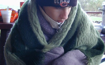 Bundled up with Chicago Bears hat