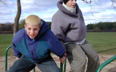 Merry-go-round at Silver Lake Park: Elliot and Erik