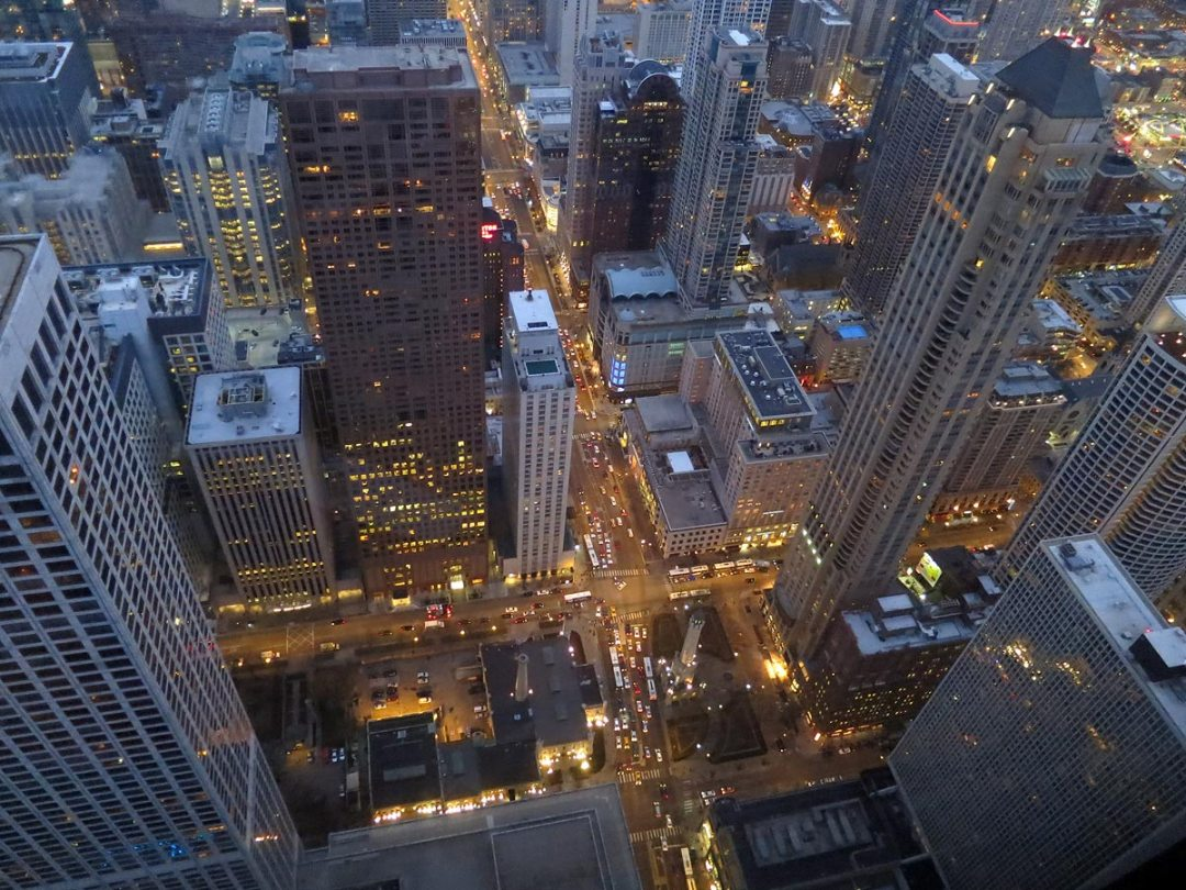 Downtown Chicago, viewed from 95th floor of John Hancock Center, looking down at Chicago Water Tower
