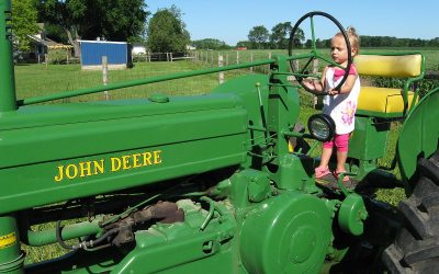 John Deere tractor and Zoey, Kenosha County, Wisconsin