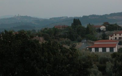San Gimignano towers from agritourismo in Tuscany