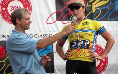 Cycling announcer John Beckman, cyclist Magen Long