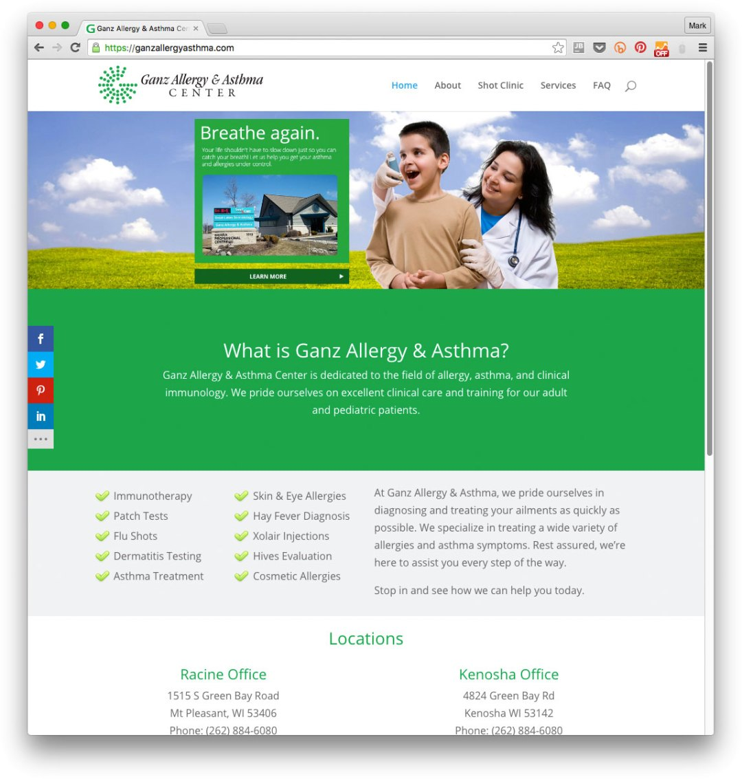 Website example: Ganz Allergy & Asthma Center