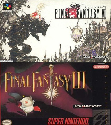 Top: Box art for the Japanese release of Final Fantasy VI. Bottom: Box art for the Western release of the game, re-titled as Final Fantasy III.