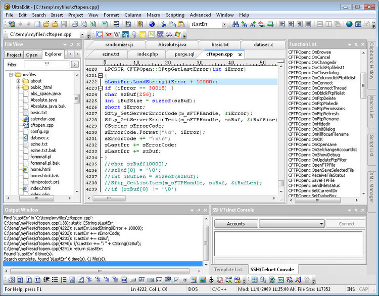 A screenshot of Ultra Edit, used to modify source code and in-game dialogue.