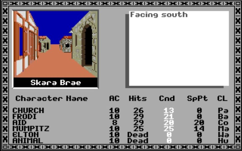 Bard's Tale screenshot showing the exploration panel, text description panel, list of characters, and basic statistics
