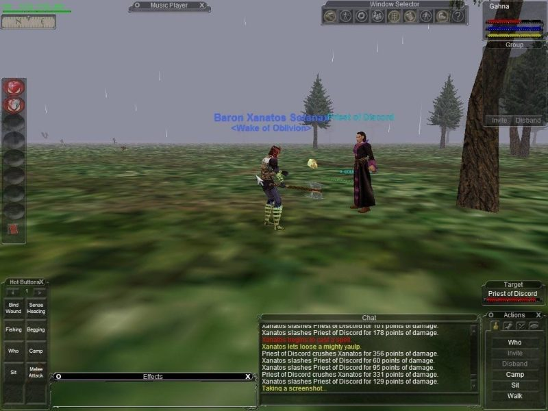 EverQuest (Planes of Power) screenshot showing the exploration panel, chat window, available spells and actions, targetting info, and basic statistics