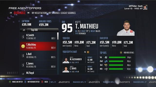 Madden NFL 17, Connected Franchise mode screenshot showing a free agent selection/negotiation screen. While the developers have tried to jazz it up, the numbers are what the player is focussed on. This is a really snazzy spreadsheet