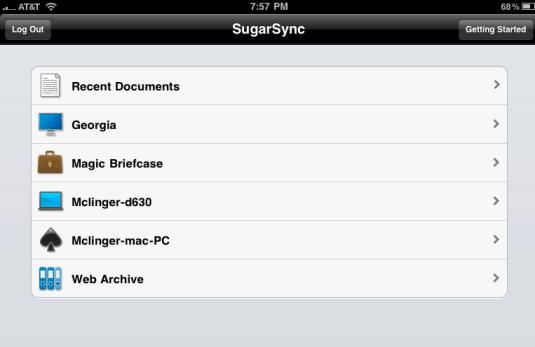 SugarSync Main iPad View