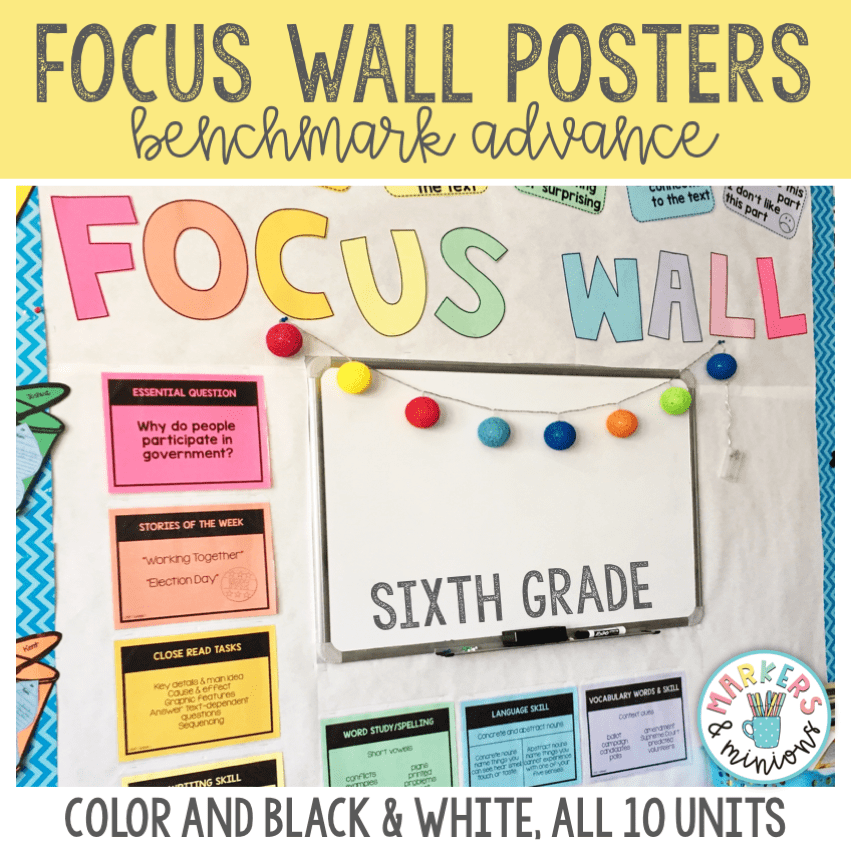 focus wall posters for sixth grade ca