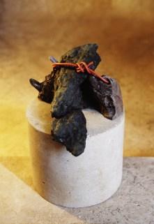 Wrapped Orange - stone, wood, bronze, wire