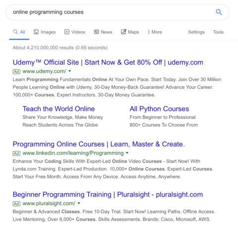 Ancien affichage annonces Googles
