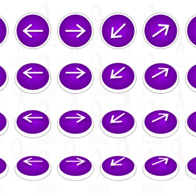 Set of White Arrows on Purple Ellipse