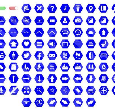 MacNimation Basic Hexagonal White on Blue