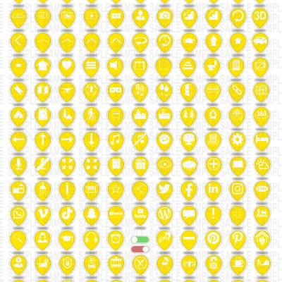 MacNimation - Tear Drop Icons- White on Deep Yellow - 140 icons