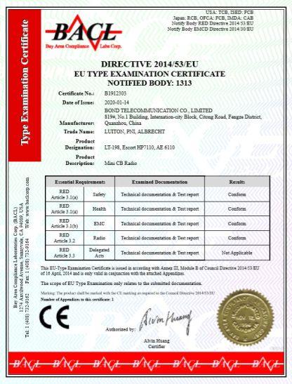Luiton LT-198 Two-way Radio certificate