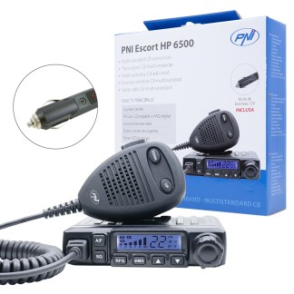 CB PNI Escort HP 6500, multistandard, 4W, AM-FM, 12V, ASQ, RF Gain, cigarette lighter included