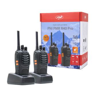 PNI PMR R40 Pro portable radio station, set with 2 pcs, 0.5W, ASQ, TOT, monitor, programmable, 1200mAh batteries, chargers and headphones included