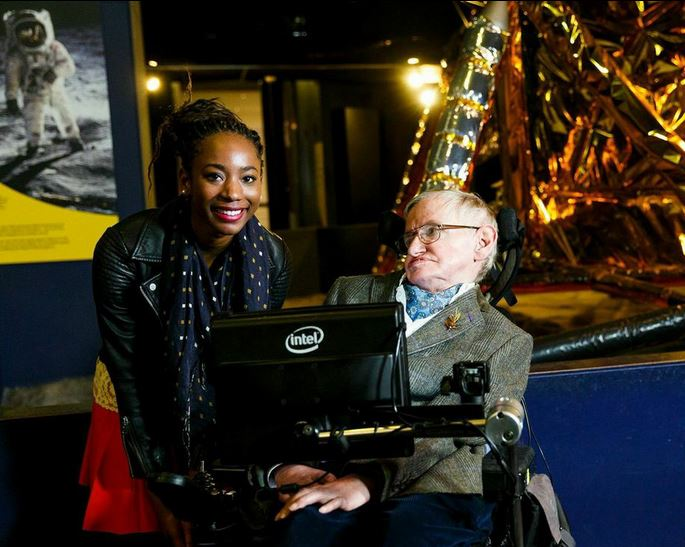 Hawking and Uyanwah at Science Museum