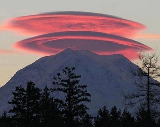 Lenticular cloud over a mountain